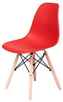 Стілець Жаклін пластиковий Червоний з дерев'яними ніг, фото 1