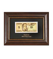 Панно ''Банкнота 100 USD (доллар) США'' покрытие сусальное золото HB- 077