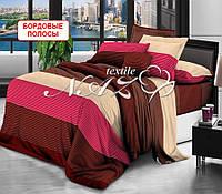 Односпальный набор постельного белья - Бордовые полосы