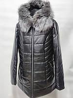 Куртка из эко-кожи на верблюжьей шерсти с мехом чернобурки длина 80см 48р 50р 52р 54р 56р 58р 60р