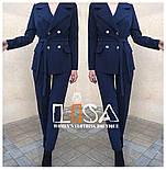 Женский брючный костюм: удлиненный пиджак и брюки (в расцветках), фото 2