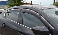 Ветровики хромированные Skoda Rapid 2013-  дефлекторы окон полный комплект