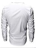 Чоловіча сорочка з довгими рукавами приталеного крою, посадка Slim Fit (біла), фото 3