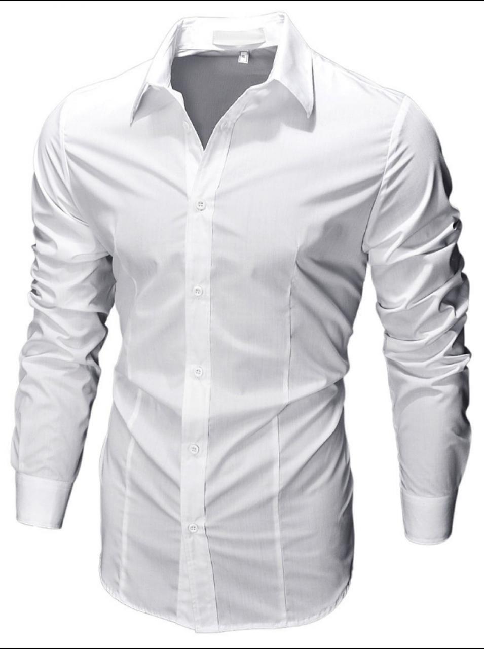 Чоловіча сорочка з довгими рукавами приталеного крою, посадка Slim Fit (біла)