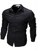 Чоловіча сорочка з довгими рукавами приталеного крою, посадка Slim Fit (біла), фото 2
