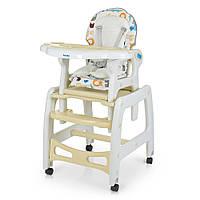 Детский стул для кормления с регулируемой спинкой 2 в 1 Bambi Animal M 1563 Beige