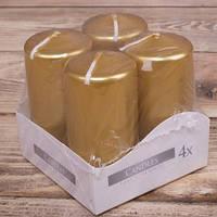 Свеча цилиндр BISPOL золото 7,5 см набор 4 штуки