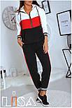 Женский спортивный трехцветный костюм с капюшоном (в расцветках), фото 2