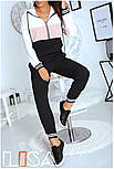 Женский спортивный трехцветный костюм с капюшоном (в расцветках), фото 7