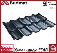 Металлочерепица модульная Budmat Venecja Prelaq X-Matt SSAB-Швеция 1190x736 графитового цвета. Будмат Венеция