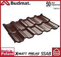 Металлочерепица модульная Budmat Venecja Prelaq X-Matt SSAB-Швеция 1190x736 коричневого цвета. Будмат Венеция