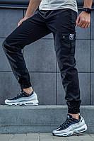 Мужские демисезонные штаны в стиле Cargo REXTIM Criminal black черные на манжете, фото 1