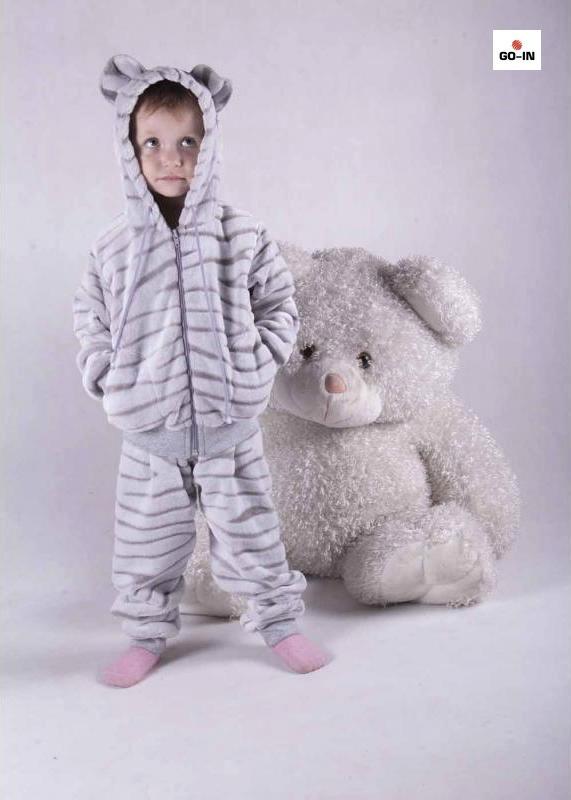 Костюм детский махровый теплый с капюшоном и ушками серый