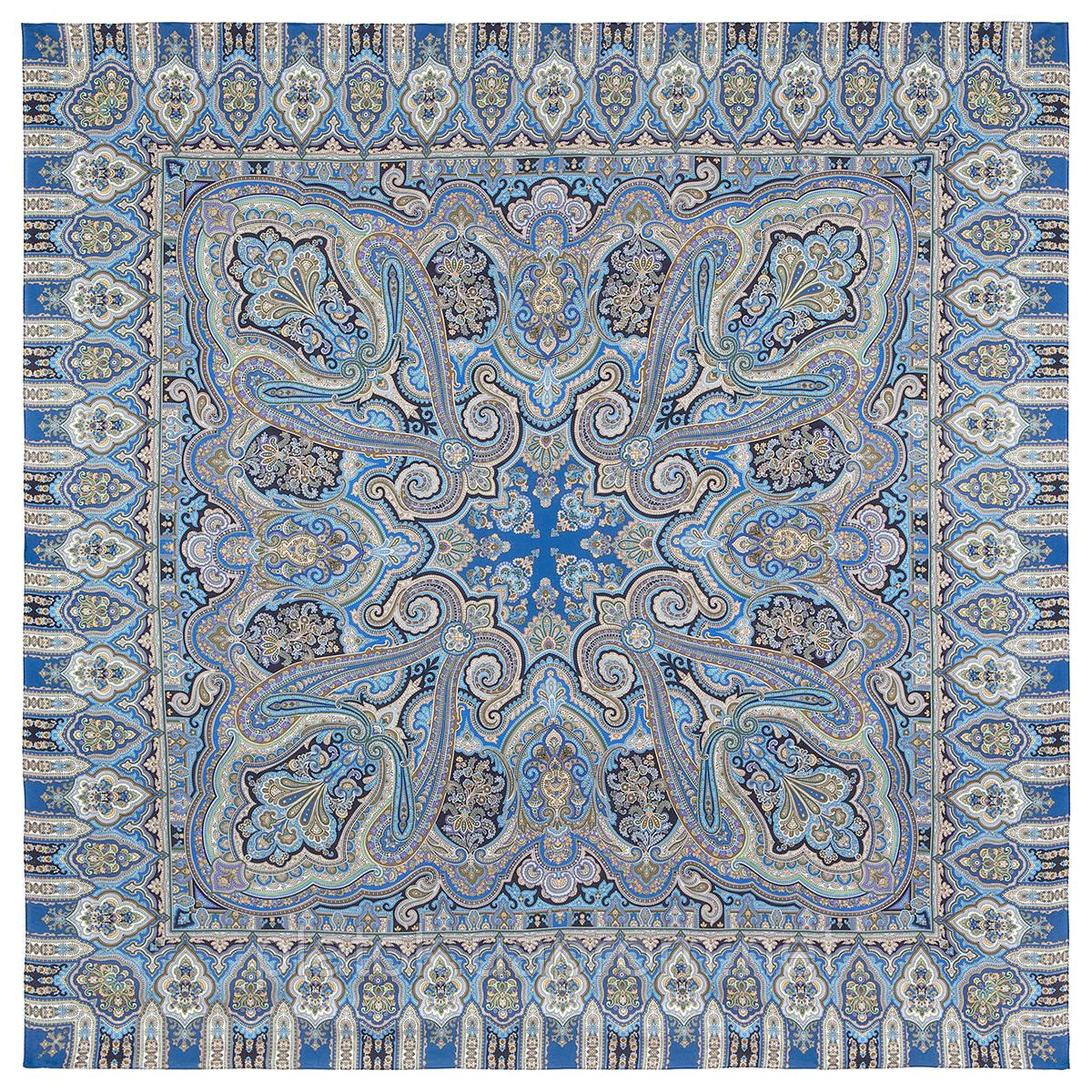 Фергана 1856-14, павлопосадский платок из вискозы с подрубкой