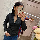 Женский стильный свитер/кофточка с молнией сверху (в расцветках), фото 9