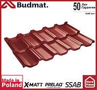 Металлочерепица модульная Budmat Venecja Prelaq X-Matt SSAB-Швеция 1190x736 вишневого цвета. Будмат Венеция