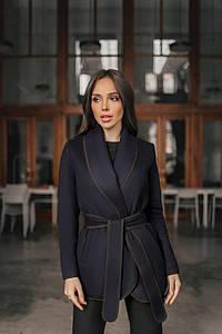 Женское кашемировое пальто на запах под пояс  S, M, L, XL