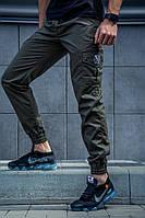 Мужские демисезонные штаны в стиле Cargo REXTIM Oliva олива на манжете