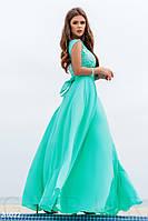 Длинное вечернее платье  с вышивкой мятного цвета