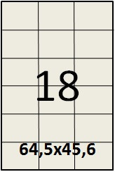 Самоклеящаяся этикетка в листах А4 - 18 шт (64,5х45,6)