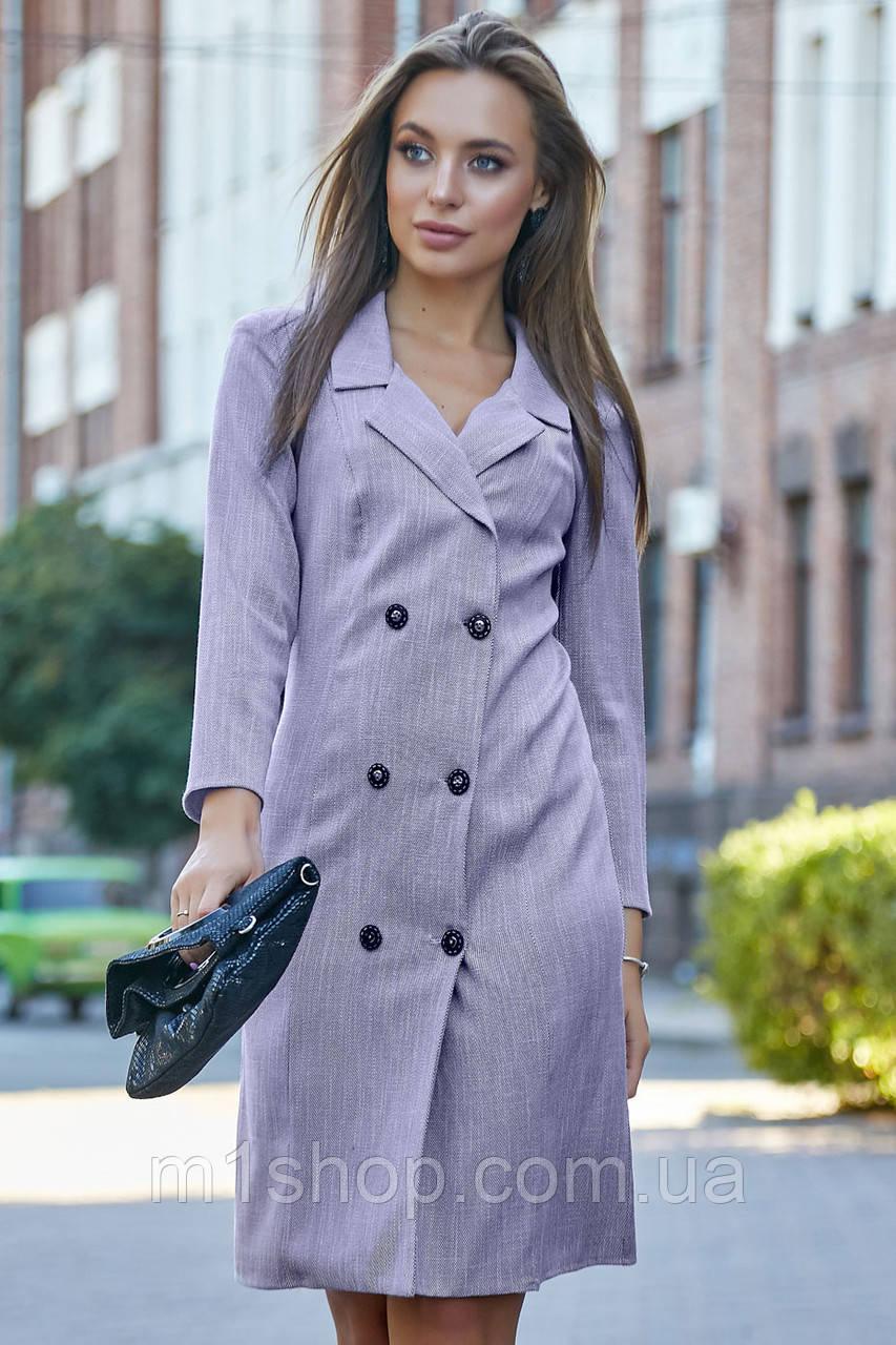 Женское деловое льняное двубортное платье (3633-3632-3634 svt)