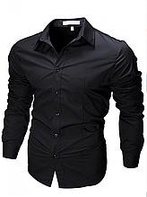 Чоловіча сорочка з довгими рукавами приталеного крою SLIM FIT (чорна)
