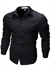Рубашка мужская с длинными рукавами приталенного кроя SLIM FIT (черная)