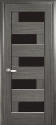 Межкомнатное полотно Пиана grey (серое) 800 мм с черным стеклом.