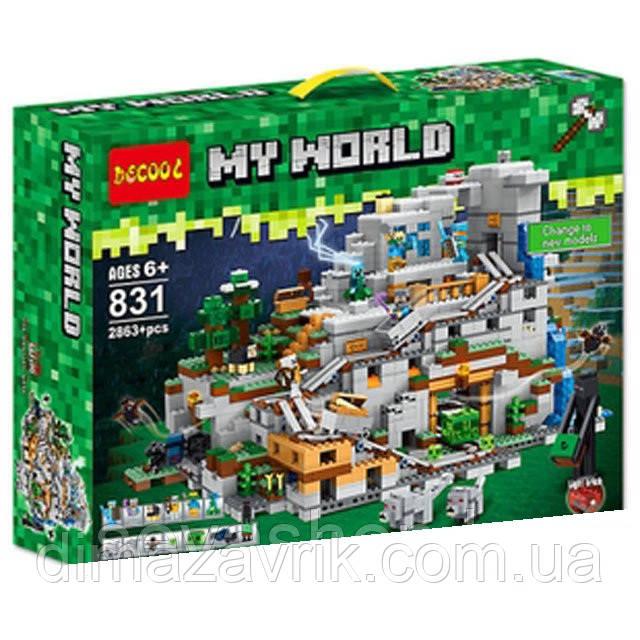 """Конструктор Decool 831 (Аналог Lego Minecraft 21137) """"Горная пещера майнкрафт"""" 2863 деталей"""