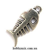 "Метал. подвеска ""скелетик maxi"" серебро (1,2х2,7 см) 5 шт в уп."