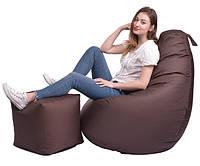 Кресло мешок Груша, ткань Оксфорд, размер М коричневый