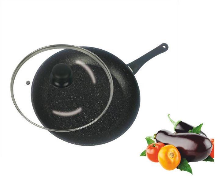 Сковорода c крышкой Ø 24. Мраморное покрытие. Benson BN-502