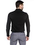 Рубашка мужская черная классическая с длинным рукавом, фото 3