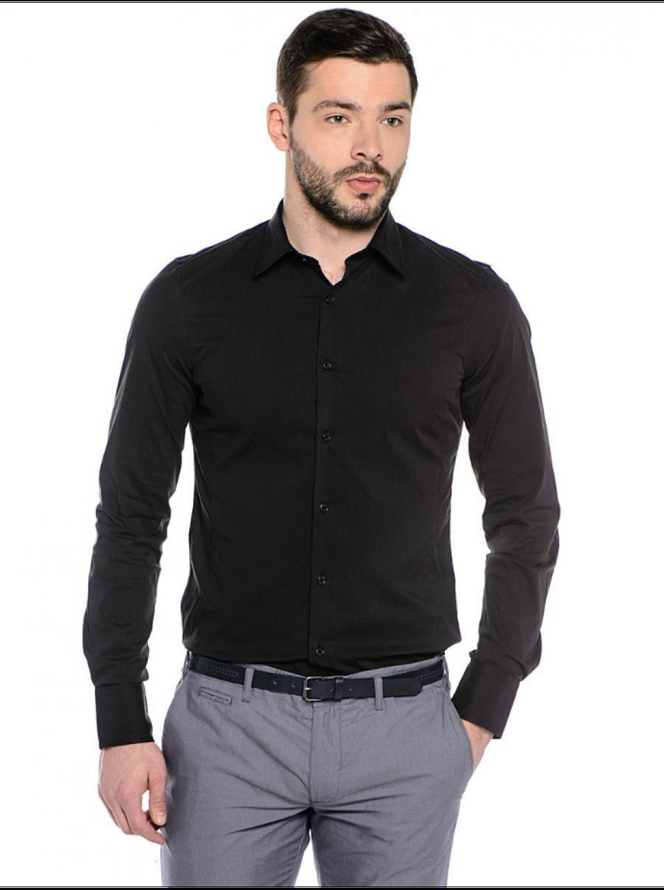 Рубашка мужская черная классическая с длинным рукавом