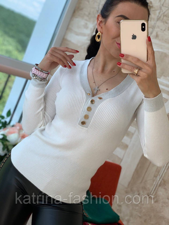 Женский стильный джемпер- кофточка с пуговицами  и люрексом (в расцветках)