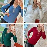 Женский стильный джемпер- кофточка с пуговицами  и люрексом (в расцветках), фото 10