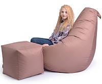 Кресло мешок Груша, ткань Оксфорд, размер М кофе с молоком