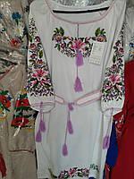 Шикарнее жіноче плаття з гарною вишивкою  льон, фото 1