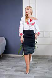 Женская черная юбка карандаш с зелеными вставками Оксана