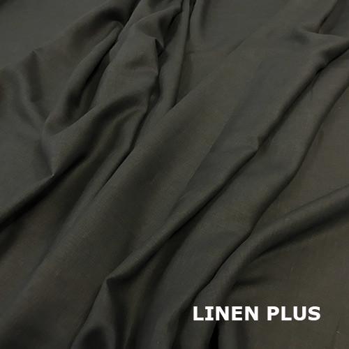 Черная льняная ткань 100% лен, цвет 147