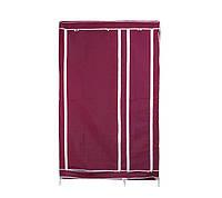 🔝 Портативный тканевый шкаф-органайзер для одежды на 2 секции - бордовый , Складные тканевые шкафы