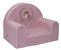 Мягкое детское кресло «Мишка в рамке», розовый