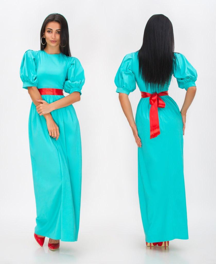 Платье рукав фонарик с поясом в пол