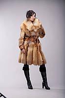 Пальто из натуральной рыжей степной лисы