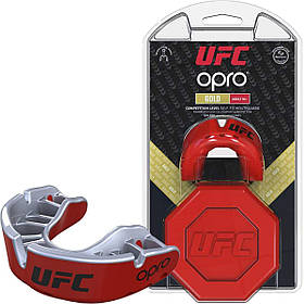 Капа OPRO Gold UFC Hologram Red Metal/Silver (art.002260002)