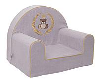 Мягкое детское кресло «Мишка в рамке», серый