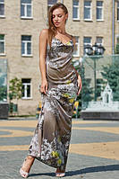 Нарядное длинное платье на бретелях