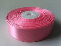 Лента атласная розовая 25 мм бобина 33 м