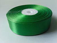 Лента атласная зеленая 25 мм бобина 33 м