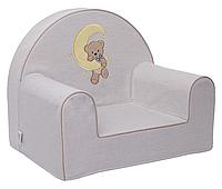 Мягкое кресло для детей «Мишка на месяце», бежевый, водоотталкивающая ткань